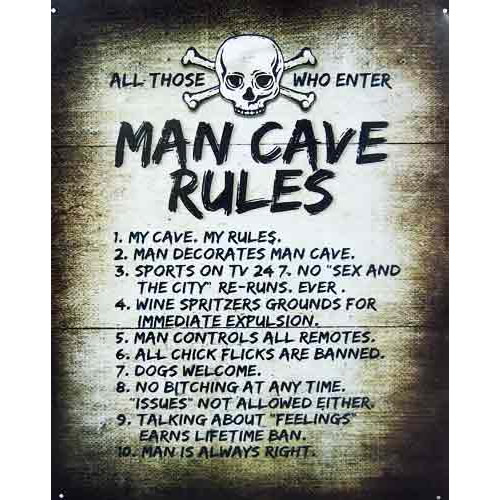 Man Cave Rules Novelty Sign Bar Shed Garage Games Pool Room Rumpus Mens Gift