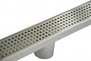 800mm Bathroom Shower Stainless Steel Grate Drain w/Centre outlet Floor Waste Square Pattern