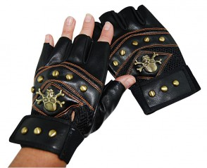 Steampunk Gloves w/Studs & Crossbone