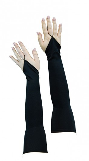 Nylon Fingerless Gloves 40cm - Black