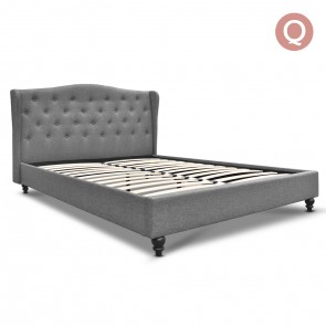 Queen Fabric Bed Frame with Headboard Grey