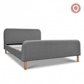 Queen Polyester Fabric Bed Frame Grey