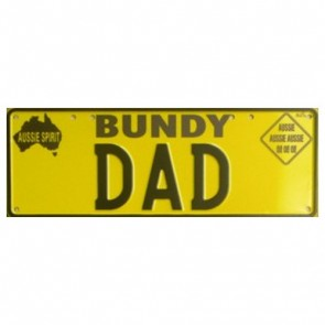 Novelty Number Plate - Bundy Dad Black On Yellow New Series