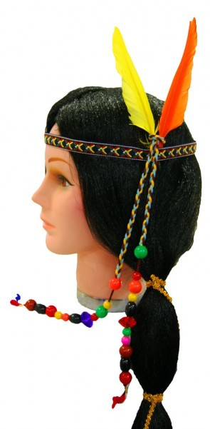 Indian Headband w/Beads & Feathers