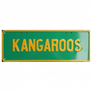 Novelty Number Plate - Kangaroos Yellow On Green