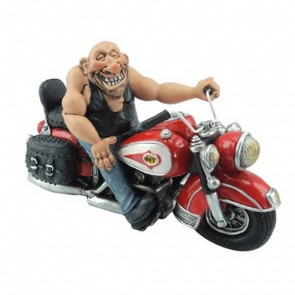 Motorcyclist Figurine on Red and White Bike