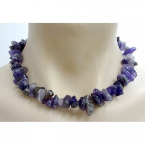 Crystal Chip Necklace Chunky Size Amethyst