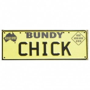 Novelty Number Plate - Bundy Chick Black On Yellow New Series
