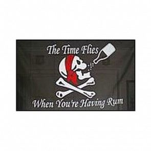 Pirate Skull with Red Headscarf & Rum Flag 5' x 3'