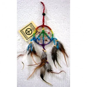 Rainbow Peace Sign Dreamcatcher 6cm