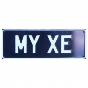 Novelty Number Plate - My XE White On Black
